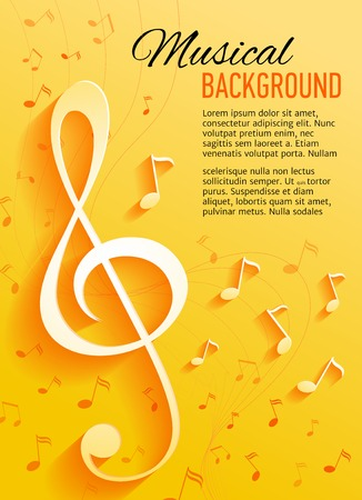 Vector background with music notes and key Stock Illustratie