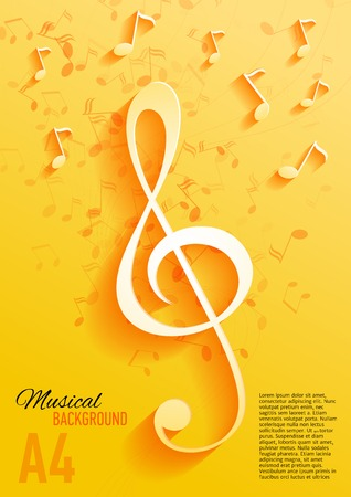 classical music: Vector background with music notes and key Illustration