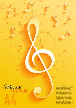 musica clasica: Vector de fondo con notas musicales y clave