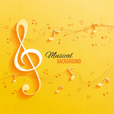 Vector background with music notes and key Ilustração
