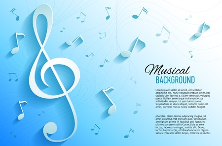 Vector background with music notes and key Illustration