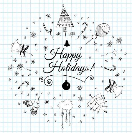 christmas postcard: Christmas postcard template with doodles. Hand drawn text. Vector illustration.