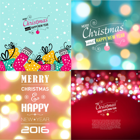 house of santa clause: Set of Christmas typography templates. Designed text. Vector illustration.