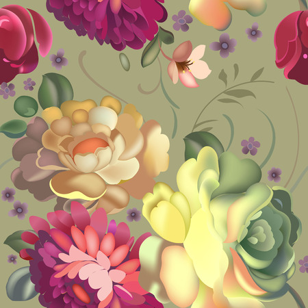 seamless: Floral textile seamless pattern with beautiful vintage flowers. Vector illustration. Illustration