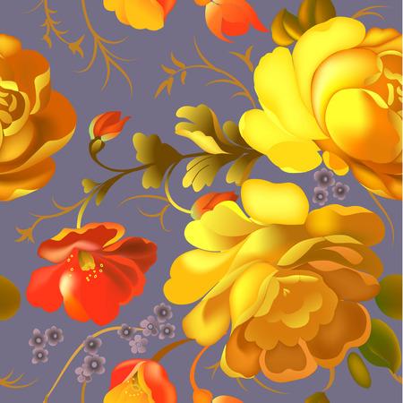 Modèle sans couture de textile floral avec de belles fleurs vintage. Illustration vectorielle