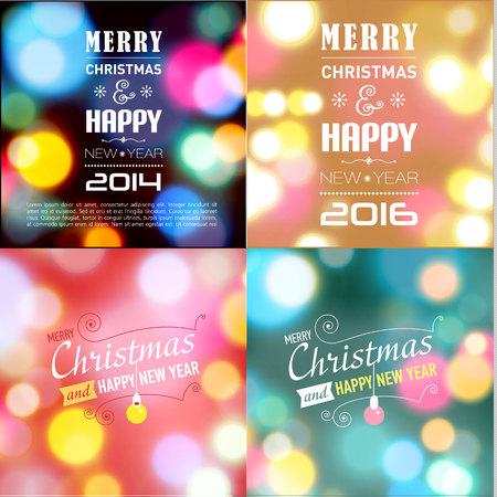 postcard template: Set of christmas postcard template. Vector illustration.