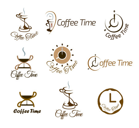 coffee time: Set of coffee time logo design. Vector illustration. Illustration