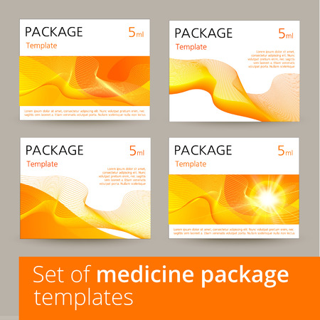 Ensemble de conception de l'emballage de médicament avec 3d-modèle. Vector illustration.