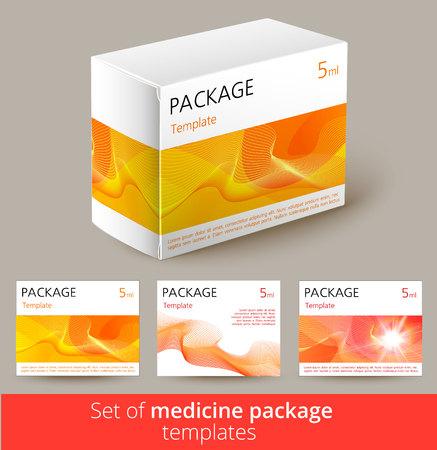 medicina: Conjunto de diseño del envase del medicamento con 3d-plantilla. Ilustración del vector. Vectores