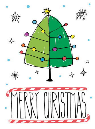 post card: Vector illustration of Merry Christmas post card with hand drawn Christmas tree. Illustration
