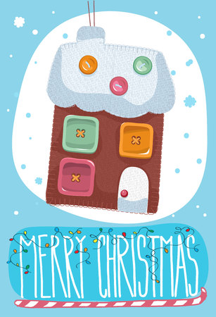post card: Merry Christmas post card with toy house. Vector illustration.