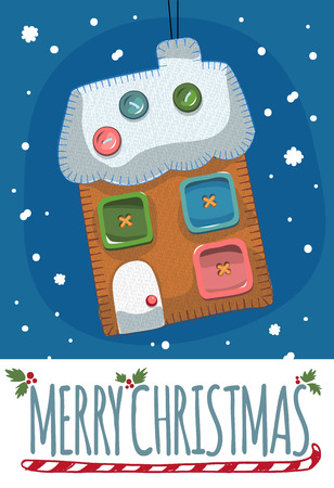 toy house: Merry Christmas post card with toy house. Vector illustration.
