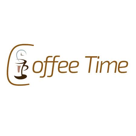 Vector illustratie van koffie tijd logo design.