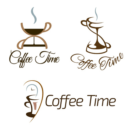 Set of coffee time logo design. Vector illustration. Illustration