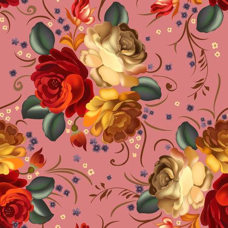 Textil floral patrón transparente con flores hermosas de la vendimia. Ilustración del vector.