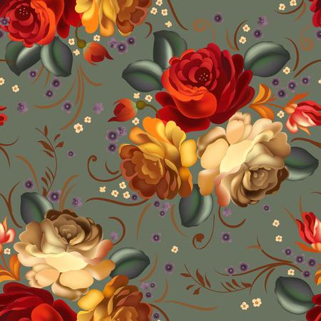 tessile Floral seamless con bellissimi fiori d'epoca. Illustrazione vettoriale.