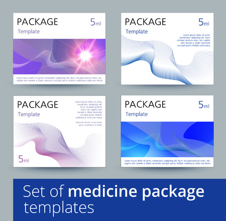 Set of medicine package design with 3d-template. Vector illustration.