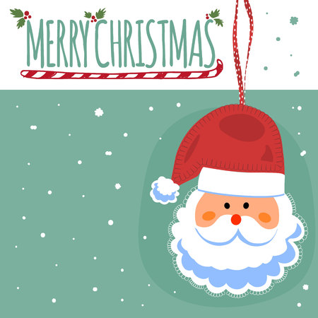 clause: Merry Christmas post card with Santa Clause. Vector illustration.
