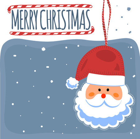 Merry Christmas post card with Santa Clause. Vector illustration.