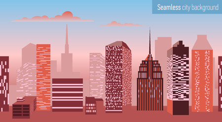 clouds scape: Seamless stripe pattern with architectural building. Vector illustration.