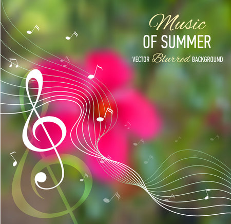 key of paradise: Music banner. Blurred background with music notes and key. Designed text. Vector illustration.