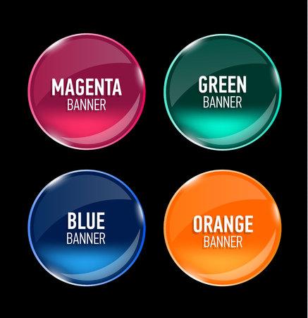 Conjunto de banderas de vidrio para su diseño. Botones brillantes. Interfaz. Ilustración del vector.