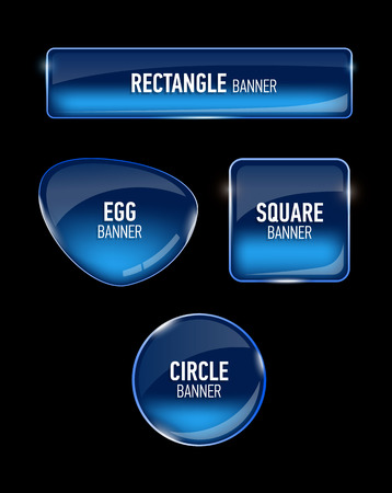 Set of glass banners for your design. Glossy buttons. Interface. Vector illustration. Ilustração