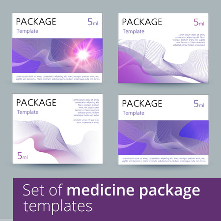 medicine: Set of medicine package design with 3d-template. Vector illustration.