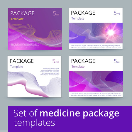 placebo: Set of medicine package design with 3d-template. Vector illustration.
