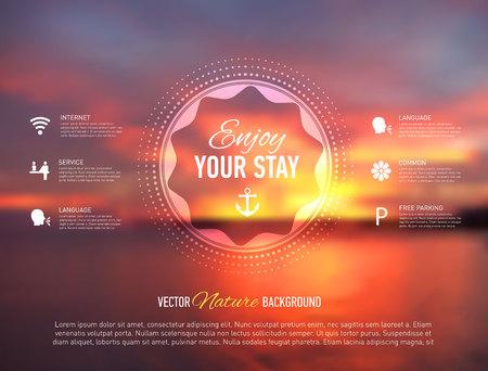 Vector illustratie van de website template met zee vage achtergrond.