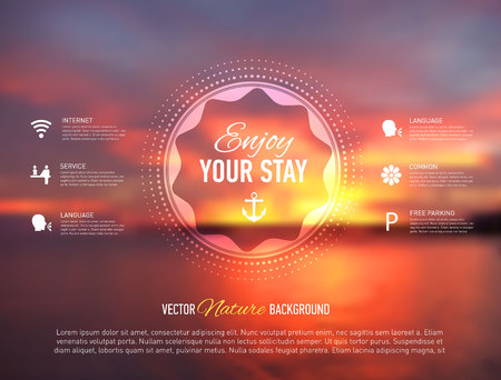 sunset beach: Vector illustration of web site template with seaside blurred background.
