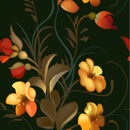old wallpaper: Floral textile seamless pattern in Russian Zhostovo style. Russian traditional ornament. Vector illustration. Illustration