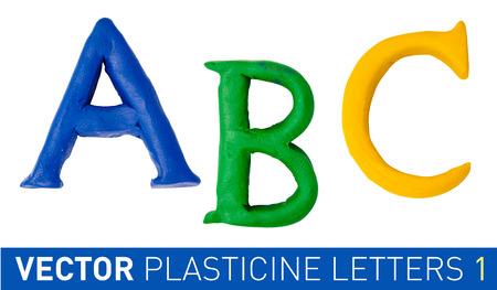 monotype: Set of plasticine letters of english alphabet. Vector illustration. Illustration