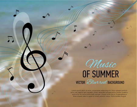 key of paradise: Music banner. Seaside blurred background with music notes and key. Designed text. Vector illustration.