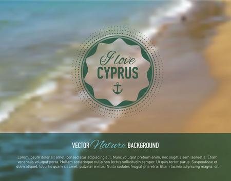 webdesign template: Summer card. Seaside blurred background with designed text. Web-design template. Site. Banner. Vector illustration.