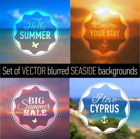 samui: Summer posters with blurred seaside background and designed text. Set of Badges. Web-design templates. Vector illustration.