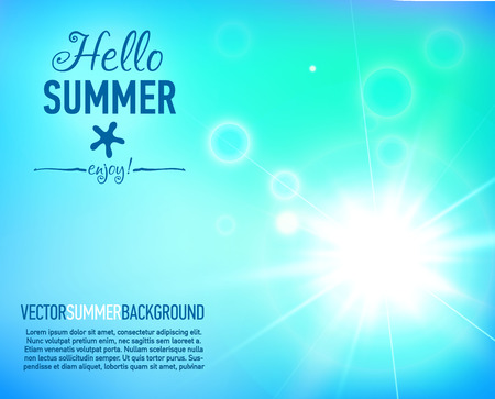 is magnificent: Summer background with a magnificent sun burst with lens flare. Hot with designed text. Vector illustration. Illustration