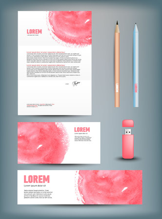 usb disk: Corporate identity templates: disk, pen, pencil, cup, usb flash driver. Isolated with soft shadows Vector illustration