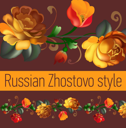 bindweed: Traditional ornament. Floral ornamental frame in Russian Zhostovo style. Bindweed. Vector illustration.