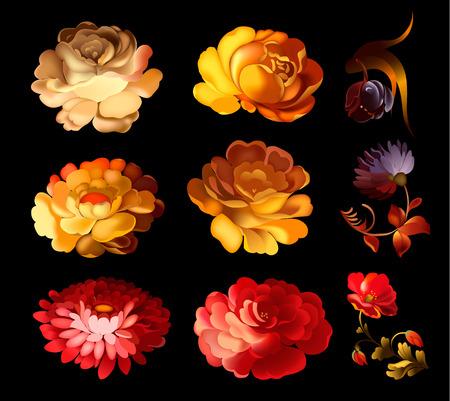 Ensemble d'éléments floraux isolés. Design rétro mignon dans des couleurs vives pour autocollants, étiquettes, étiquettes, papier d'emballage cadeau.