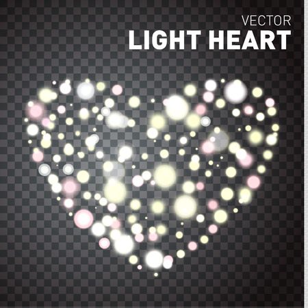 light hearted: Glowing lights isolated on transparent background. Heart of lights. Vector illustration