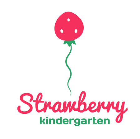 day care: kindergarten and Family Day Care. Strawberry. Vector illustration.