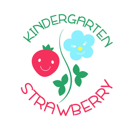 kindergarten and Family Day Care. Strawberry. Vector illustration.