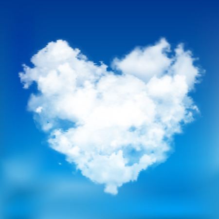 puffy: Realistic vector cloud heart with sun. Blue sky background.