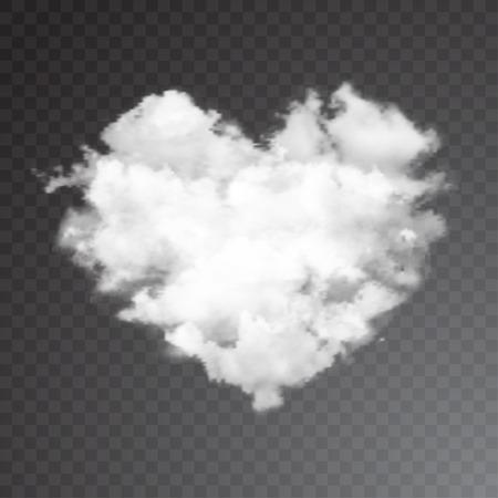 Realista corazón del vector de nubes con sol. cielo azul de fondo. Ilustración de vector