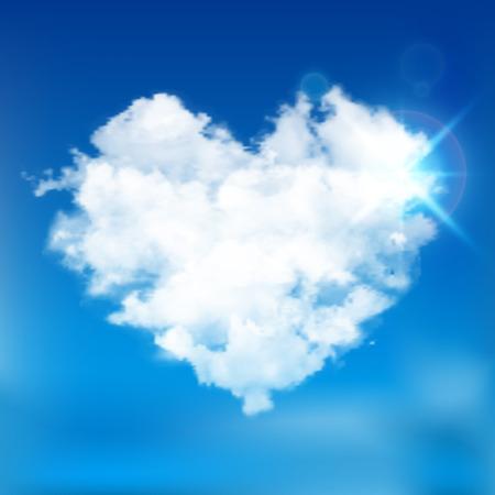 sun blue sky: Realistic vector cloud heart with sun. Blue sky background.