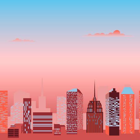midtown: Modern city skyline. Street landscape. Clouds Vector illustration