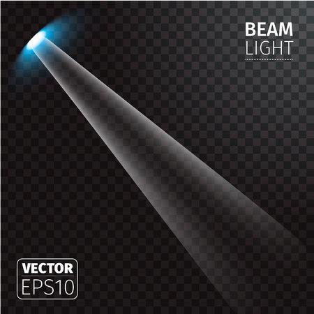 Vector illustration of realistic beam light on transparent background.