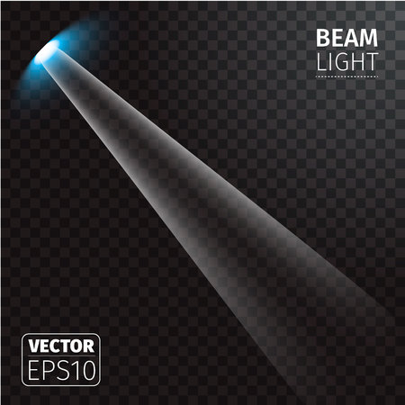 cosmic rays: Vector illustration of realistic beam light on transparent background.