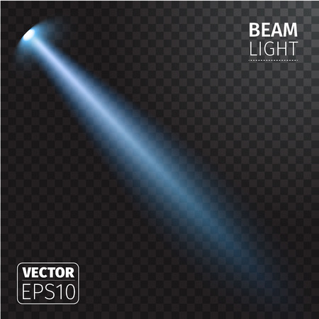 Vector illustration of realistic beam light on transparent background.